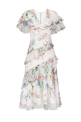 Blush Multi Floral Ruffle Dress by Theia