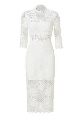 White Miller Lace Sheath Dress by Alexis
