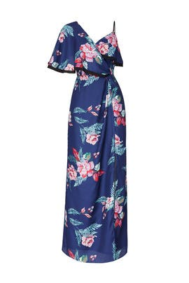 Navy Multi Floral Printed Maxi by Harlyn
