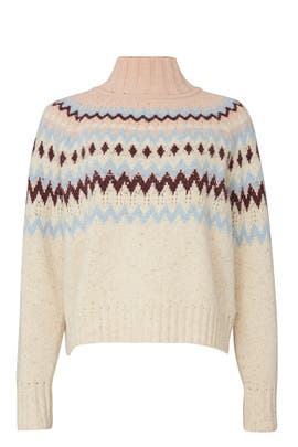 Oatmeal Fair Isle Turtleneck by La Vie Rebecca Taylor