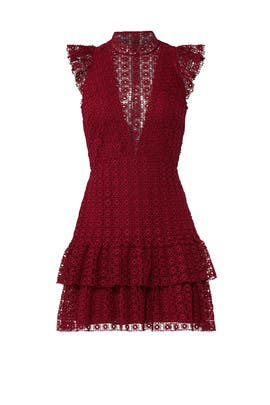 Red Foil Geo Ruffle Dress by Slate & Willow
