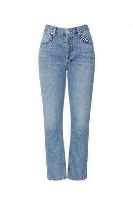Cropped Rigid High Rise Riley Jeans by AGOLDE