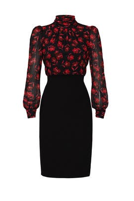 Floral High Neck Sheath by Badgley Mischka