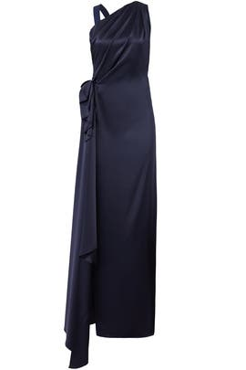 Navy Side Drape Gown by Osman