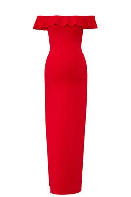Red Ruffle Slit Maternity Gown by Susana Monaco