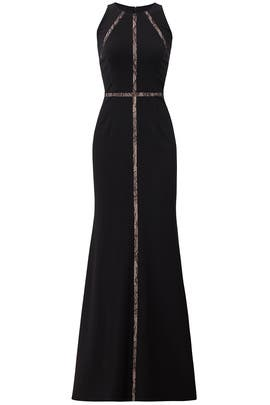 Black Insert Lace Gown by Adrianna Papell