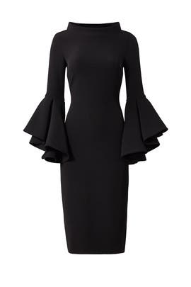 Black Bell Sleeve Sheath by Badgley Mischka