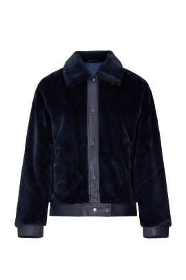 Navy Faux Shearling Jacket by Avec Les Filles