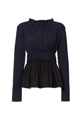 Black Pleated Ruffle Top by Marni