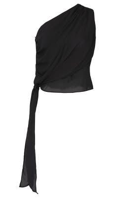 Black One Shoulder Tie Top by krisa