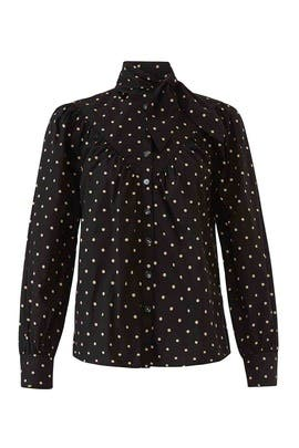 Long Sleeve Dot Tie Neck Top by La Vie Rebecca Taylor