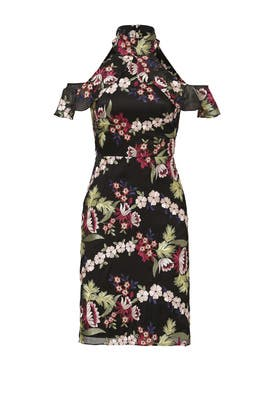Black Floral Garden Embroidered Dress by ML Monique Lhuillier