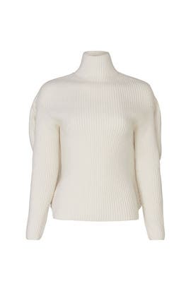 White Ribbed Turtleneck by Nina Ricci