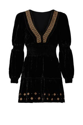 Black Velvet Smock Dress by RAHI