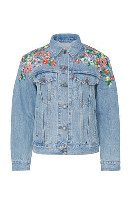 Floral Embroidered Ex BF Denim Trucker Jacket by Levi's