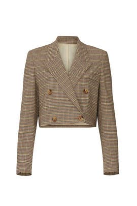 Plaid Moscot Cropped Blazer by Nanushka