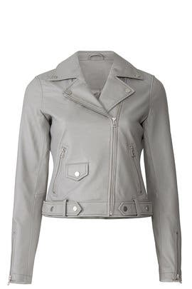 Grey Leather Moto Jacket by Slate & Willow