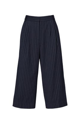 Navy Delmont Pinstripe Cropped Pants by Tibi