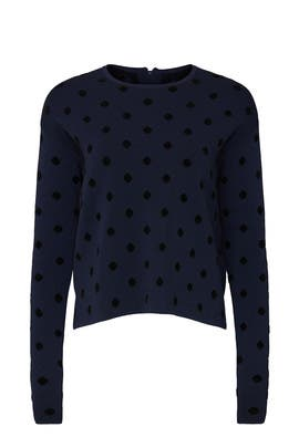Navy Polka Dot Pullover by Thakoon Collective
