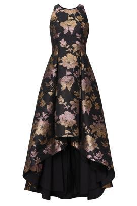 Floral Metallic Jacquard Gown by Aidan AIDAN MATTOX