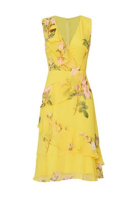 Yellow Ruffle Dress by Adrianna Papell