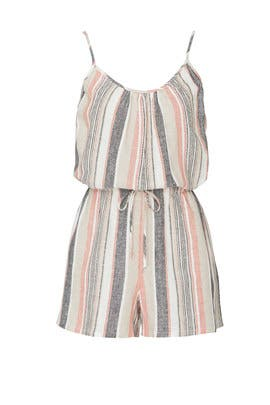 Striped Sleeveless Romper by Fifteen Twenty