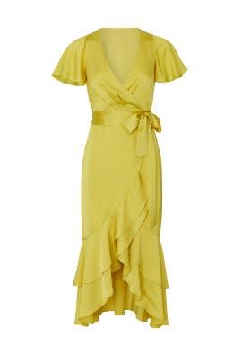 Light Chartreuse Wrap Dress by Great Jones