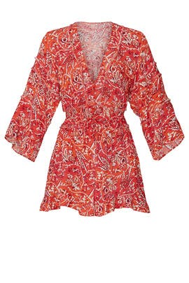 Red Floral Print Romper by Iro