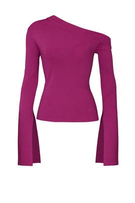 Magenta One Shoulder Top by Solace London