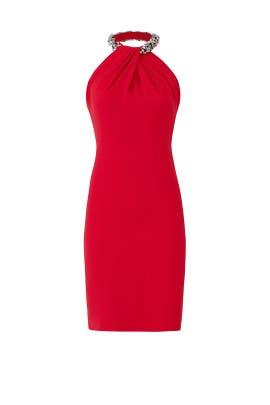 Red Beaded Toga Dress by Carmen Marc Valvo