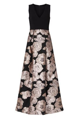 Black Floral Jacquard Gown by Hutch