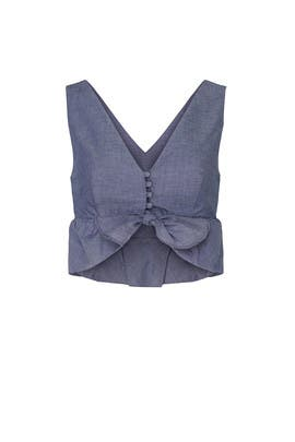 Chambray Ruffle Crop Top by Thakoon Collective