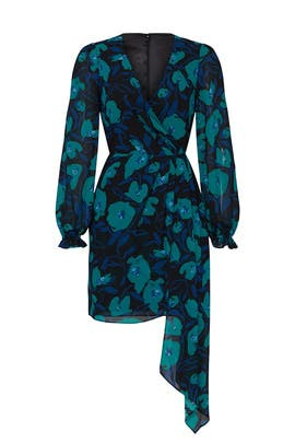 Blue Floral Printed Wrap Dress by Badgley Mischka
