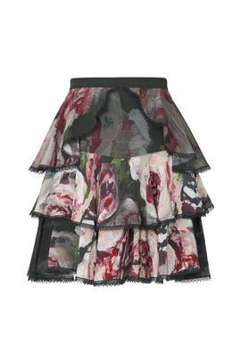 Green Tiered Skirt by Marchesa Notte