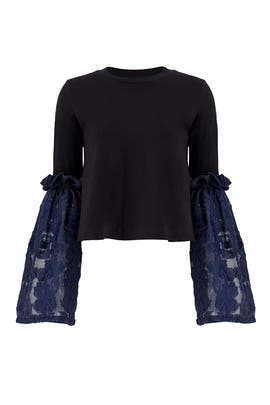 Black Lace Bell Top by Mother of Pearl