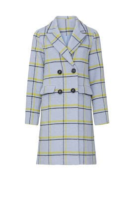 Grey Plaid Wool Coat by Slate & Willow