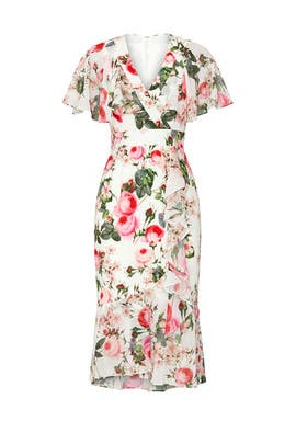 White Floral Flutter Sleeve Dress by Adrianna Papell
