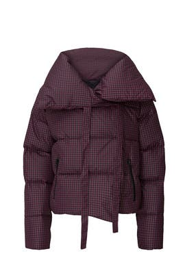 Violet Houndstooth Puffa Jacket by Bacon