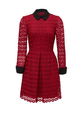 Red Circular Lace Dress by Jill Jill Stuart