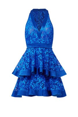 Blue Lace Layered Dress by David Koma