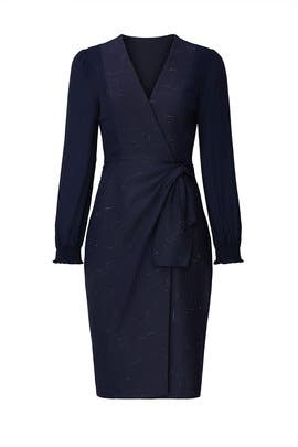 Navy Cross Hatch Dress by Rebecca Taylor