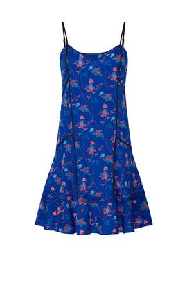 Blue Floral Printed Shift by Thakoon Collective