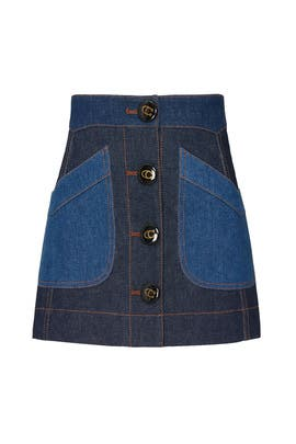 Denim Colorblock Skirt by Coach