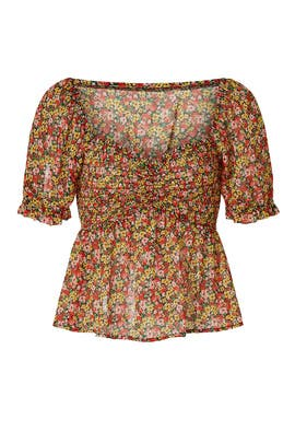 Floral Puff Sleeve Blouse by Louna