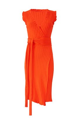 Persimmon V-Neck Wrap Dress by Milly