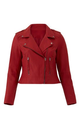 Red Faux Leather Jacket by City Chic