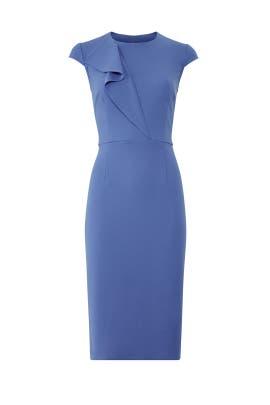 Blue Ruffle Cap Sleeve Sheath by Donna Morgan