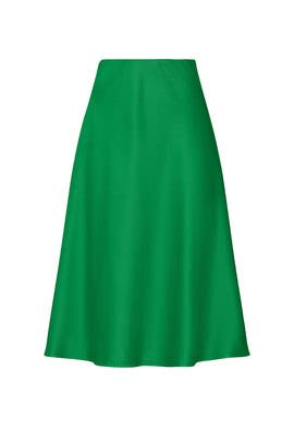 Green Satin Midi Skirt by Sweet Baby Jamie