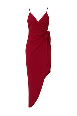 Deep Red Erin Midi Wrap Dress by STYLESTALKER