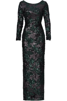 Green Printed Sequin Gown by Slate & Willow